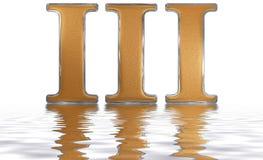 Romański liczebnik III, tres, 3, trzy, odbijający na wodnym surfac Obraz Stock