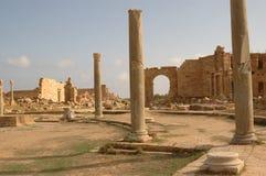 Romański miasto Leptis Magna, Libia zdjęcia stock
