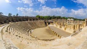 Romański teatr w antycznym mieście zakład Shean obrazy royalty free