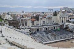 Romański teatr w antycznym Plovdiv obraz royalty free