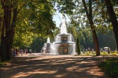 Romańskie fontanny w Peterhof obraz royalty free