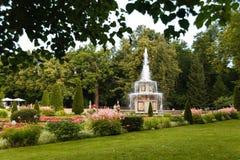 Romańskie fontanny w Peterhof fotografia stock