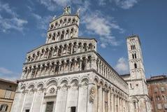 Romańszczyzny fasada San Michele w Foro, kościół rzymsko-katolicki w Lucca, Tuscany Obraz Stock