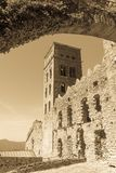 Romańszczyzny opactwo Sant Pere De Rodes w zarządzie miasta, obraz stock