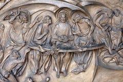 Roma - última ceia do relevo de bronze de Christ Foto de Stock