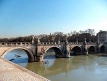 Roma, ангеликовый St Angelo Ponte моста, раз мост p Heli Стоковая Фотография RF