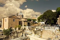 Roma. View of ancient ruins in Roma, Italy stock photo