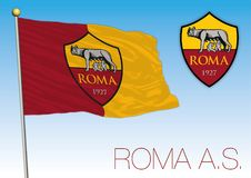 Roma AC flag and crest, Spain 2018. Roma AC flag and crest, European Championship 2018 finalist, editorial Royalty Free Stock Photography