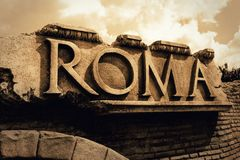 Roma Ancient Empire Text Stock Photos