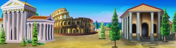 Roma antigua Opinión del panorama stock de ilustración