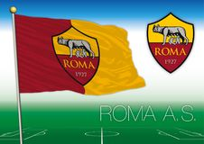 ROME, ITALY, YEAR 2017 - Serie A football championship, 2017 flag of the Roma team royalty free illustration