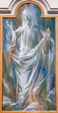 Roma - ascensión de Jesús. Detalle del fresco moderno del dei Martiri de los ángelus e del degli de Santa Maria de la basílica Imagen de archivo