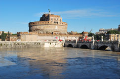 Roma Castel Sant'angelo. Flood damage in the historical bridge of castel sant'angelo Royalty Free Stock Photography
