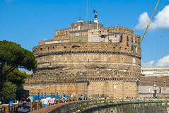 Roma 2015 castel Sant'Angelo with clouds white. Castel Sant'Angelo in Rome with tourists who admire the city Stock Photo