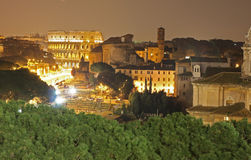 Roma coliseum and forum by night Royalty Free Stock Image