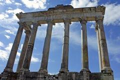 Roma, colonnato del tempiale di Saturno Fotografie Stock