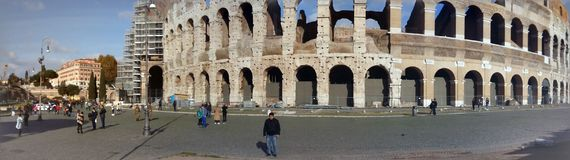 Roma Colosseum panoramic & x28;with repairs& x29; royalty free stock photo