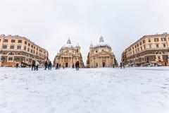Roma com neve, praça del quadrado Popolo Italy Fotografia de Stock Royalty Free
