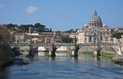Roma da un ponte Fotografia Stock Libera da Diritti