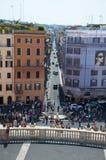 ROMA 7 DE AGOSTO: Della Barcaccia de Fontana y la plaza di Spagna visto del dei Monti en agosto 1,2013 de Trinità en Roma, Italia. Imagenes de archivo