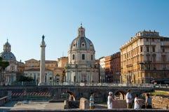 ROMA 8 DE AGOSTO: O fórum de Trajan com a coluna em agosto 8,2013 do Trajan em Roma, Itália. Imagem de Stock Royalty Free