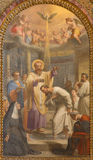Roma - el bautismo del fresco de St Ambrose del anuncio de St Augustine en Basilica di Sant Agustín (Augustine) por Giovanni Batt Fotos de archivo