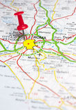 Roma fijó en un mapa de Europa Fotografía de archivo libre de regalías