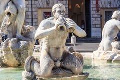 Roma, Fontana del Moro na praça Navona Fotos de Stock