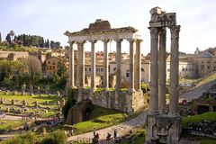 Roma i detriti di Romanum del forum le rovine dell'antico Immagine Stock Libera da Diritti