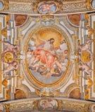 Roma - il freso del soffitto dal G B Ricci da 16 centesimo in Di Santa Maria di Chiesa della chiesa in Transpontina - ascensione immagini stock