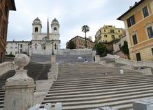 Roma, Itália 17 de junho de 2016 Praça di Spagna pisa fechado para a restauração Foto de Stock Royalty Free