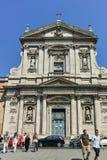 ROMA, ITÁLIA - 22 DE JUNHO DE 2017: Ideia frontal do alle Terme di Diocleziano de Santa Susanna dos di de Chiesa em Roma fotografia de stock royalty free
