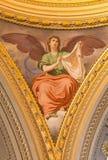 ROMA, ITÁLIA - 11 DE MARÇO DE 2016: O fresco simbólico do anjo com o véu do Veronica & do x28; Sudarium& x29; Foto de Stock Royalty Free