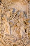 ROMA, ITÁLIA - 10 DE MARÇO DE 2016: O relevo do apóstolo St James o grande na igreja Basílica di San Marco por Carlo Monaldi Imagens de Stock Royalty Free