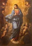 ROMA, ITÁLIA - 10 DE MARÇO DE 2016: A pintura da igreja Basílica di San Marco do ih da concepção imaculada por Pier Francesco Mol Fotografia de Stock Royalty Free