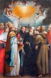 ROMA, ITÁLIA - 11 DE MARÇO DE 2016: A pintura os Confessors santamente na igreja Basílica di San Vitale por Giovanni Battista Fia Imagens de Stock Royalty Free