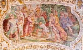 ROMA, ITÁLIA: Esau Sells His Birthright Fresco do cofre-forte das escadas em di San Lorenzo de Chiesa da igreja imagem de stock