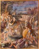 ROMA, ITÁLIA, 2016: O fresco a batalha de Jericho na igreja Basílica di San Vitale por Tarquinio Ligustri & por x28; 1603& x29; imagens de stock