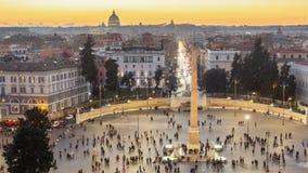 ROMA, ITALIA - 5 DE ENERO DE 2019: Piazza del Popolo es un cuadrado urbano grande en Roma, Italia Timelaps almacen de video