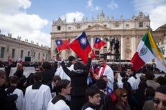 O papa Francis Inauguração Massa Imagem de Stock