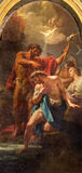 ROMA, ITALIA - 12 DE MARZO DE 2016: El bautismo del paintin de Cristo en el dell Orto de Santa Maria de los di de Chiesa de la ig Foto de archivo
