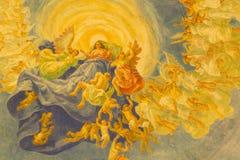 ROMA, ITALIA - 10 DE MARZO DE 2016: El detalle de la cúpula principal con el fresco de la suposición y x28; 1957-1965& x29; Fotografía de archivo libre de regalías