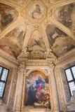ROMA, ITALIA - 9 DE MARZO DE 2016: La capilla de Mellini en los di Santa Maria del Popolo de la basílica de la iglesia con el ret Imagenes de archivo