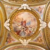 ROMA, ITALIA - 12 DE MARZO DE 2016: La gloria del fresco de St Bartholomew en la cúpula lateral en los di Santa Maria del Orto de Fotos de archivo