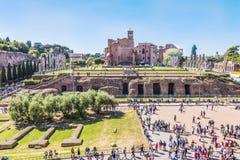 Roma, Italia, el 24 de abril de 2017 La colina de Palatine - visión desde el coliseo Imágenes de archivo libres de regalías