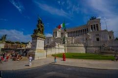 ROMA, ITALIA - 13 GIUGNO 2015: Il monumento di Vittorio Emanuele II o l'altare della patria è stato costruito in onore del primo Fotografia Stock Libera da Diritti