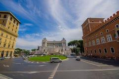 ROMA, ITALIA - 13 GIUGNO 2015: Monumento di Vittorio Emanuele II o altare della vista piacevole della patria con un piccolo quadr Immagine Stock
