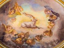 ROMA, ITALIA: L'agnello dell'affresco di Dio nella cupola della cappella del presupposto in Di Santi Giovanni e Paolo della basil Fotografia Stock Libera da Diritti