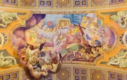 ROMA, ITALIA - 10 MARZO 2016: L'affresco l'offerta del sacrificio del corpo e del sangue di Cristo & di x28; 1957-1965& x29; Immagini Stock Libere da Diritti
