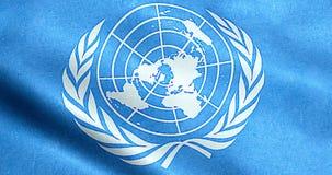 ROMA, Italia - 24 ottobre 2016: Giorno di ONU, struttura d'ondeggiamento del tessuto della bandiera con colore blu e bianco delle royalty illustrazione gratis
